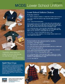 Quick Guide to Lower School Uniform