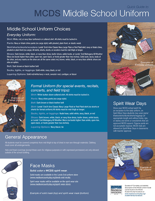 Quick guide to Middle School Uniform